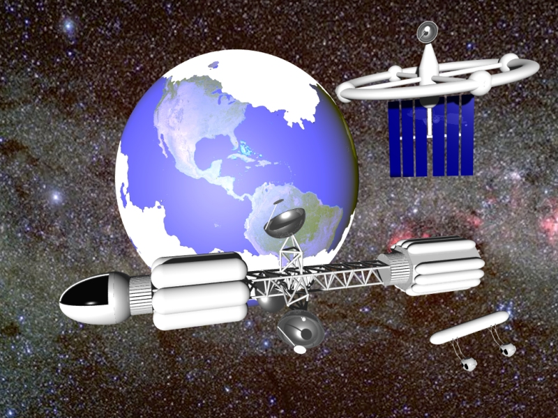 Assembling an Earth Orbital shuttle.